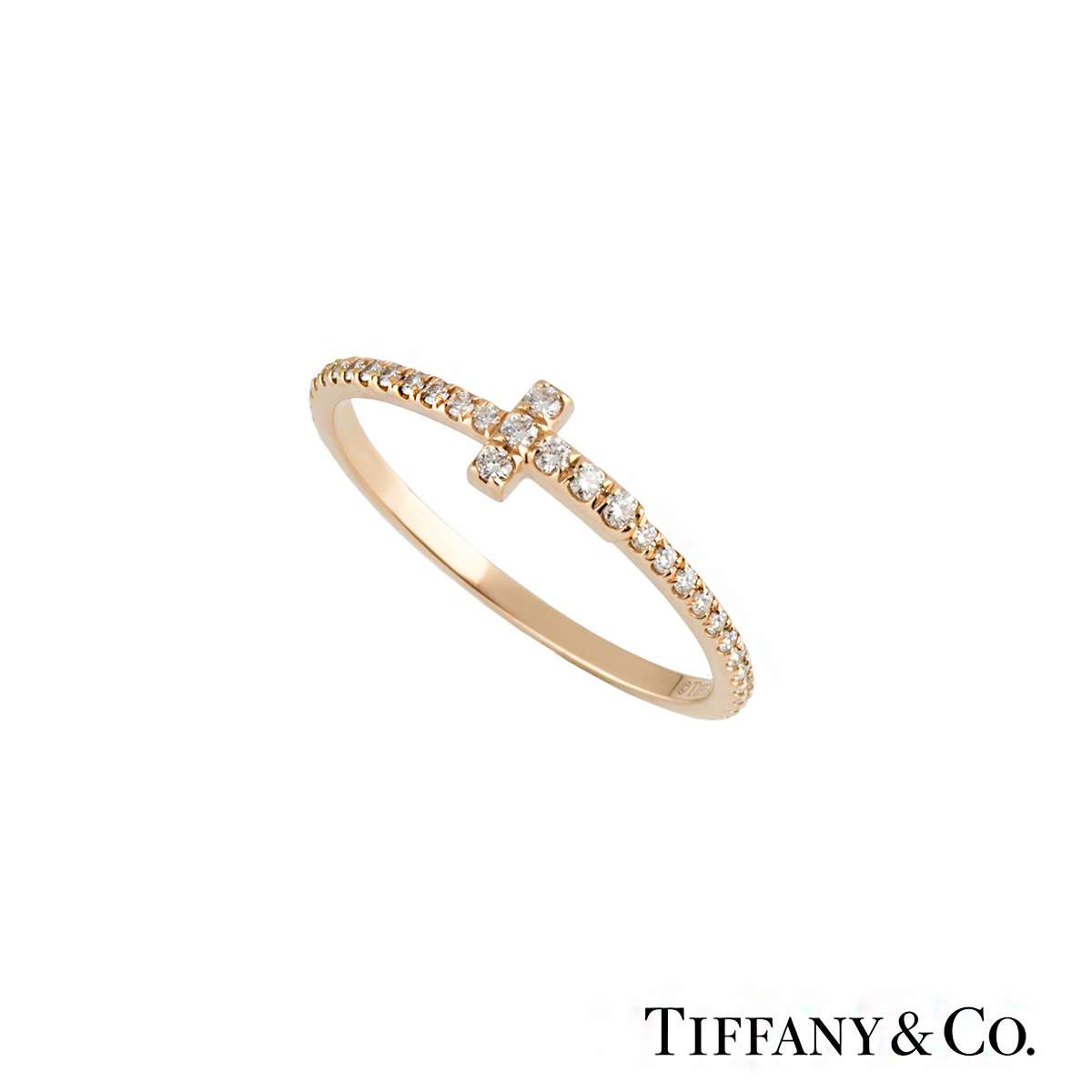 Tiffany & Co 18k Rose Gold Diamond Set Tiffany T Wire Ring - Rich ...